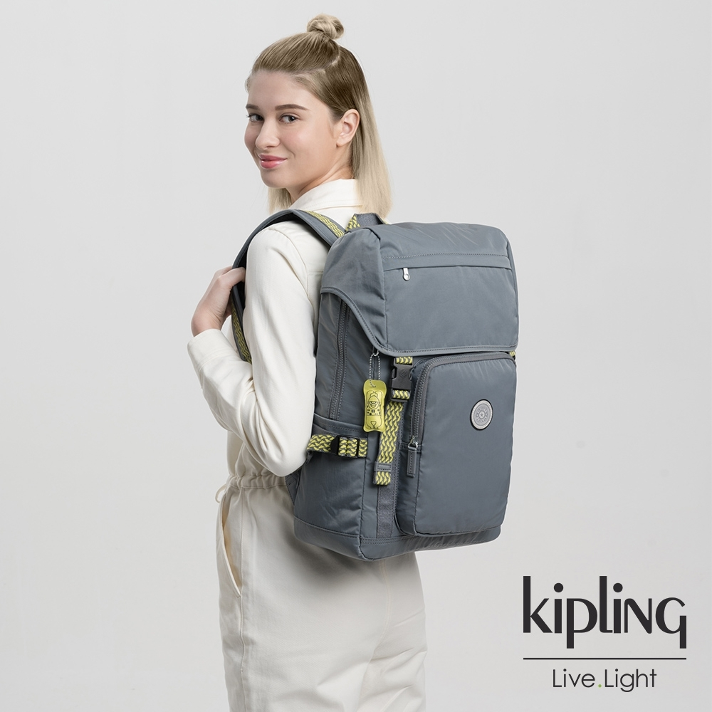 Kipling 沉穩炭石灰插扣袋蓋電腦後背包-YANTIS