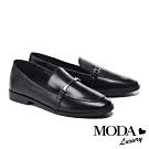 低跟鞋 MODA Luxury 復古文青金屬條釦全真皮樂福低跟鞋-黑