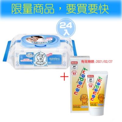 貝恩Baan NEW嬰兒保養柔濕巾80抽24入+貝恩木糖兒童牙膏(綜合水果口味)*2