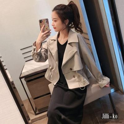 JILLI-KO 腰際袖口修飾抽繩短版風衣- 卡