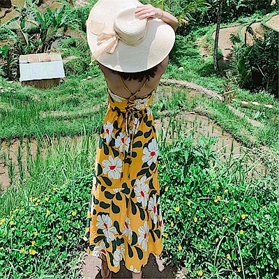 DABI 韓國風碎花性感露背細肩帶長版無袖洋裝