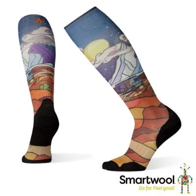 SmartWool PhD滑雪輕量菁英減震型PRINT高筒襪-探險之夜 深藍
