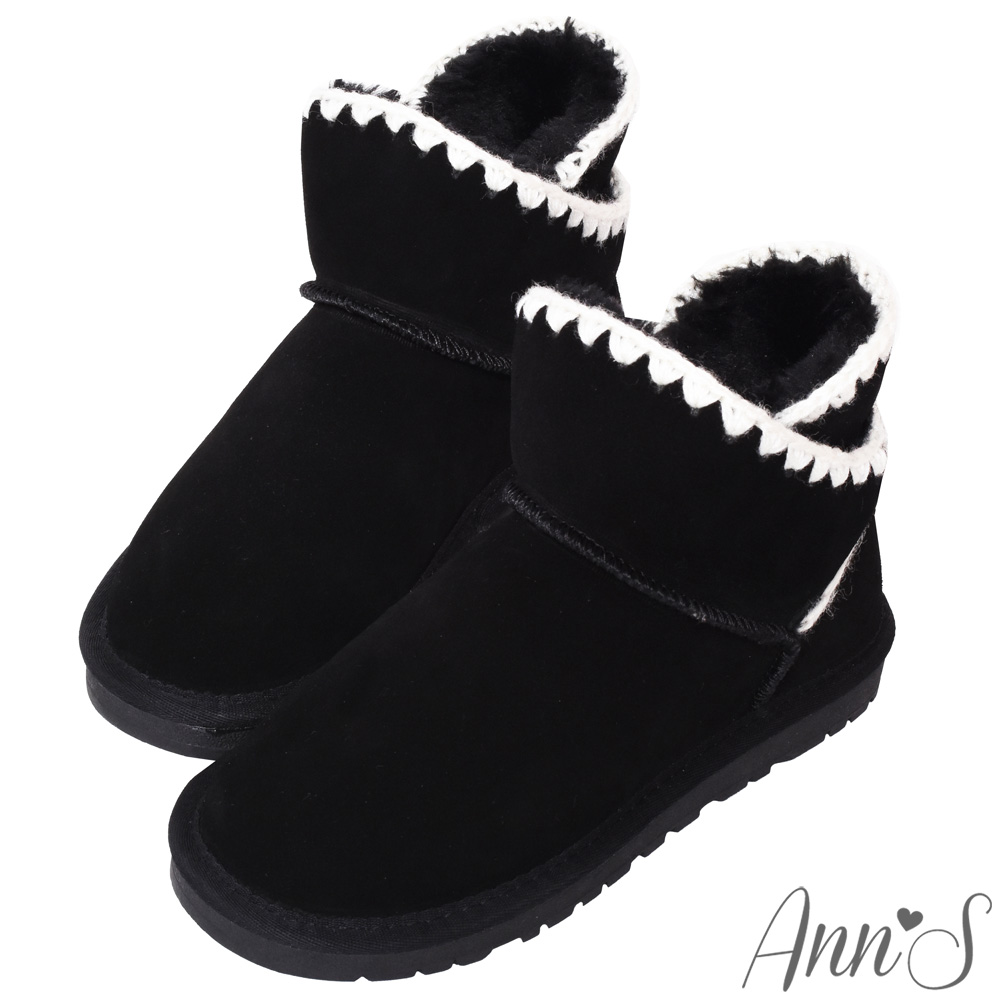 Ann'S可愛毛線-側V編織滾邊短筒真皮雪靴-黑
