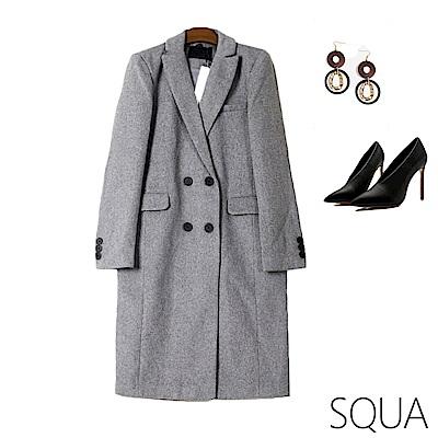 SQUA 雙排釦長版毛呢西裝外套