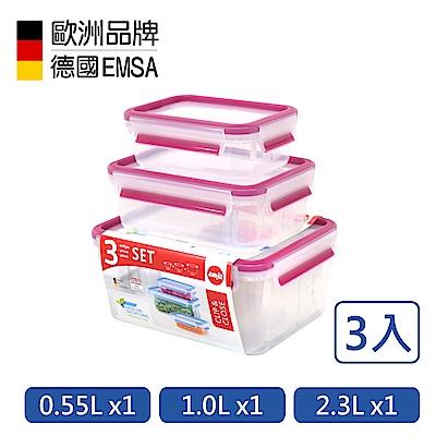 德國EMSA 專利上蓋無縫3D保鮮盒-PP材質(3入組)0.55+1.0+2.3L-玫紅