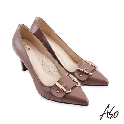 A.S.O  健步通勤氣質條帶飾扣漆皮高跟鞋-淺紫