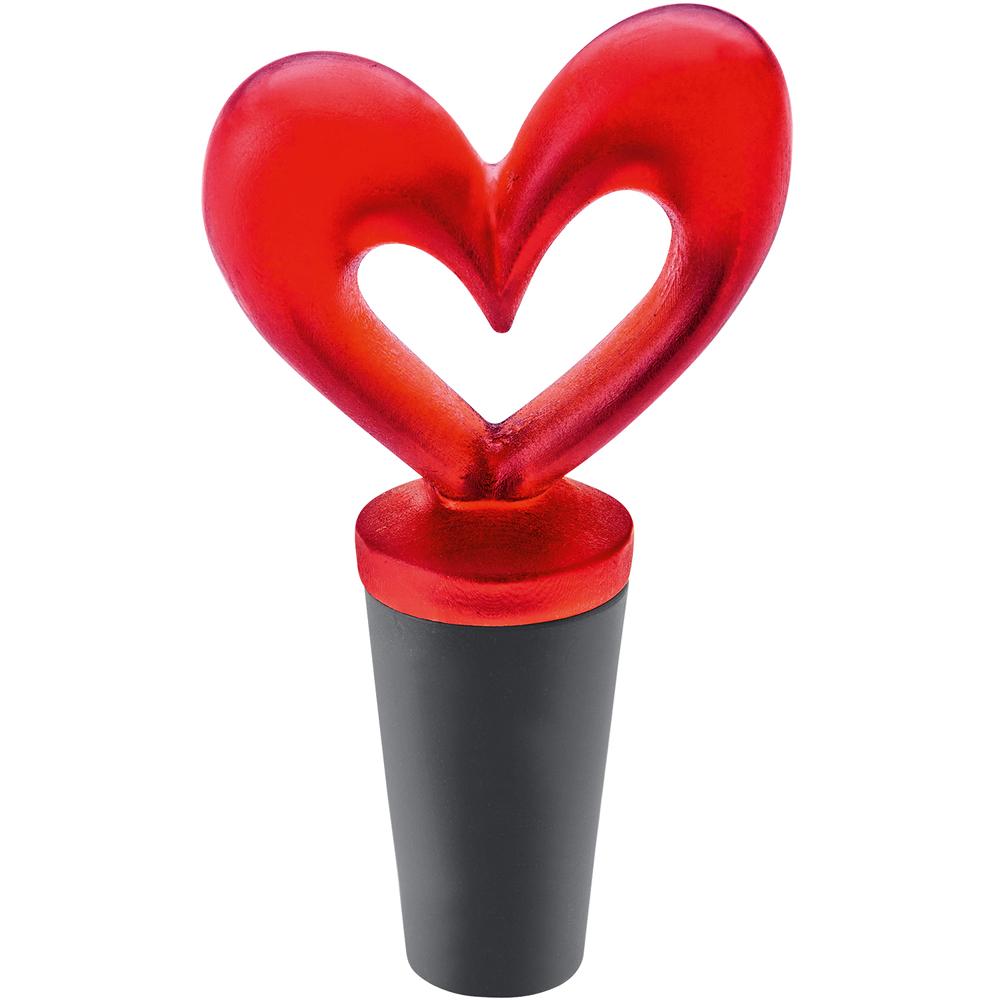 KOZIOL 愛心橡膠瓶塞(透紅)