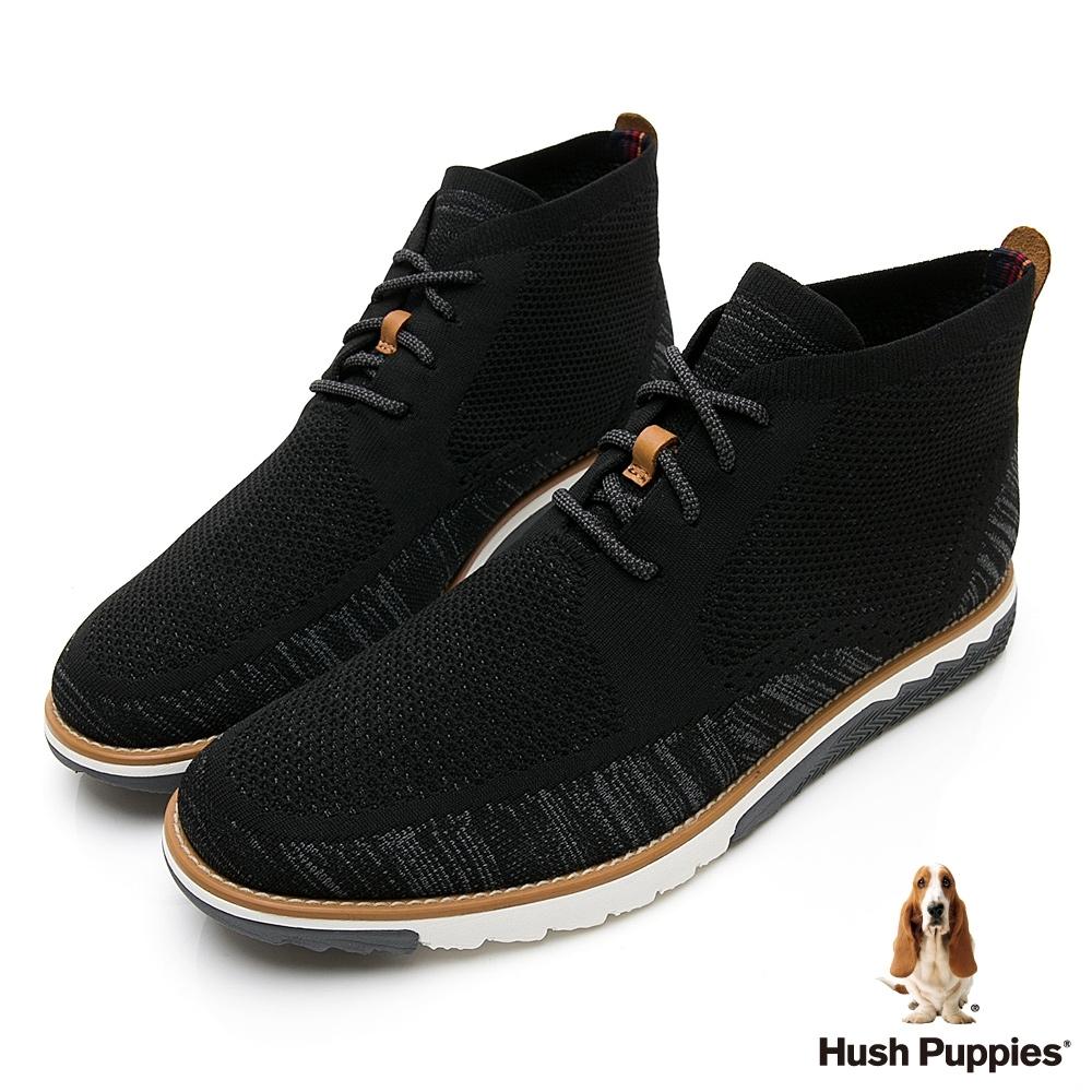 Hush Puppies Expert 針織綁帶高筒男休閒鞋-黑色