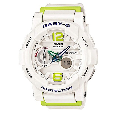 BABY-G 極限運動女孩衝浪板造型概念錶(BGA-180-7B2)-白色X綠時刻/44m