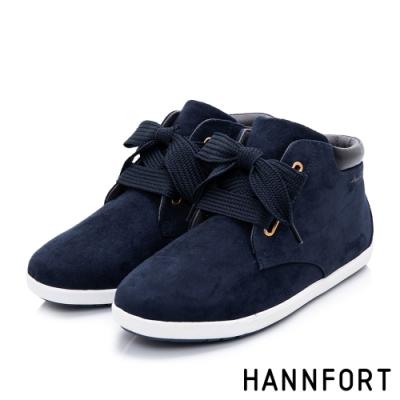 HANNFORT CALIFORNIA 麂皮寬版綁帶短靴-女-深藍
