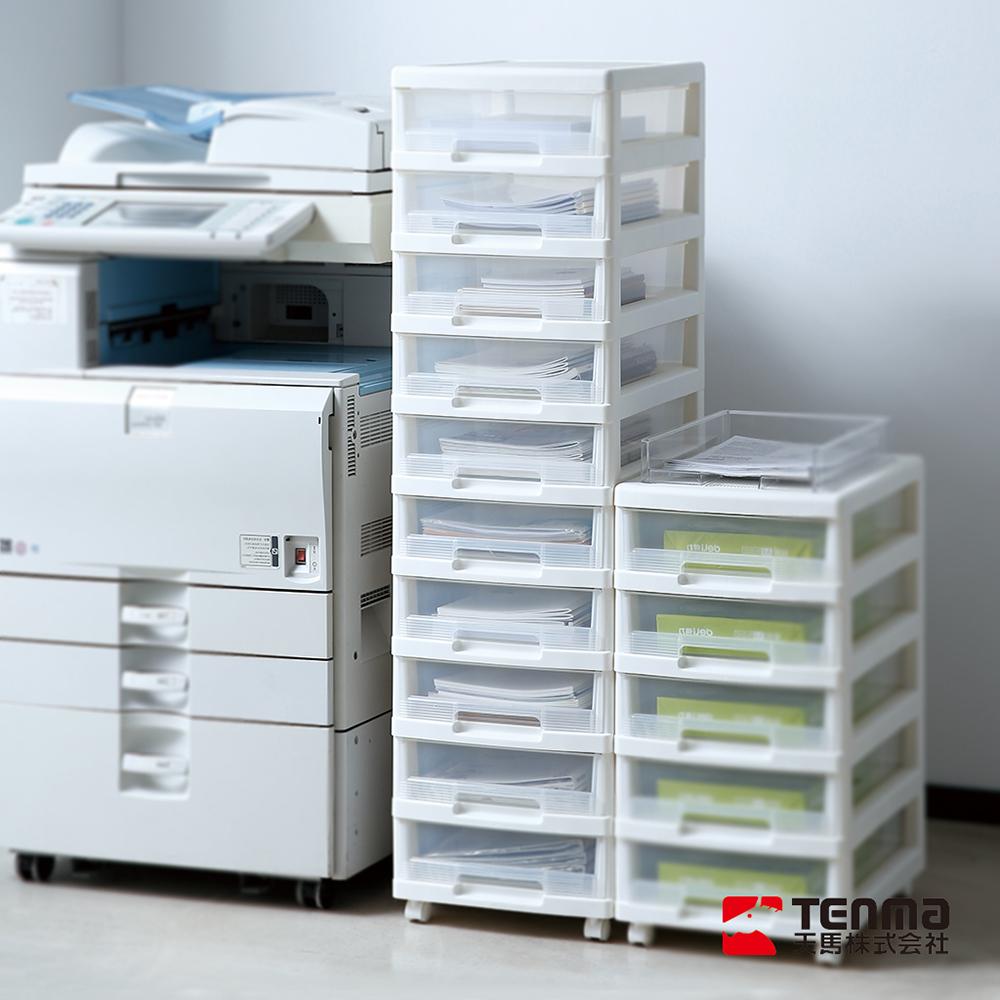 日本天馬 B4移動式十層透窗文件分類抽屜櫃-白