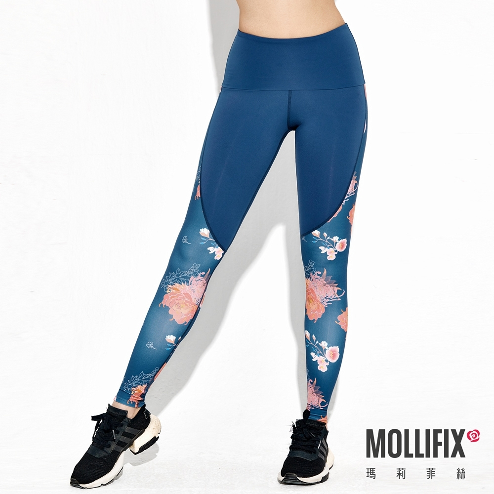 Mollifix 瑪莉菲絲 弧線律動訓練褲 (藍+堇簇藍)