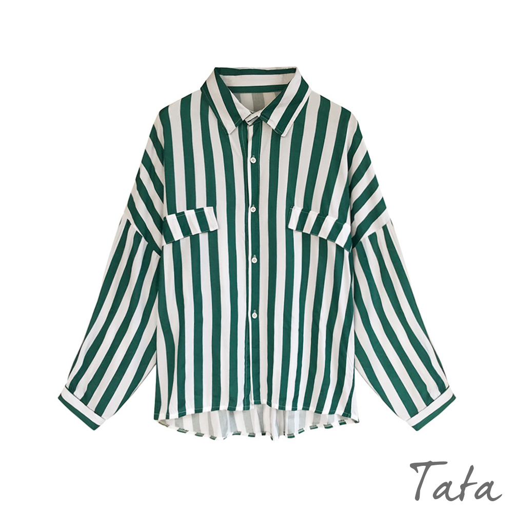雪紡落肩條紋襯衫 共二色 TATA-(M/L) product image 1