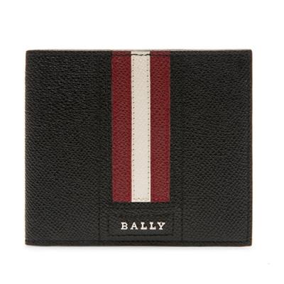 BALLY  金屬字母LOGO 紅白條紋 牛皮短夾 (經典黑)