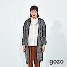 gozo 拚色羅紋文字印花長版針織外套(二色)