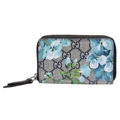 GUCCI GG Supreme Blooms系列花卉圖案拉鍊零錢包(藍)
