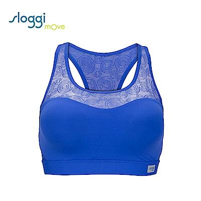 sloggi mOve FLEX 時尚蕾絲款背心式運動內衣 活力藍