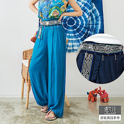 潘克拉 編織亮片素面燈籠褲-藍色