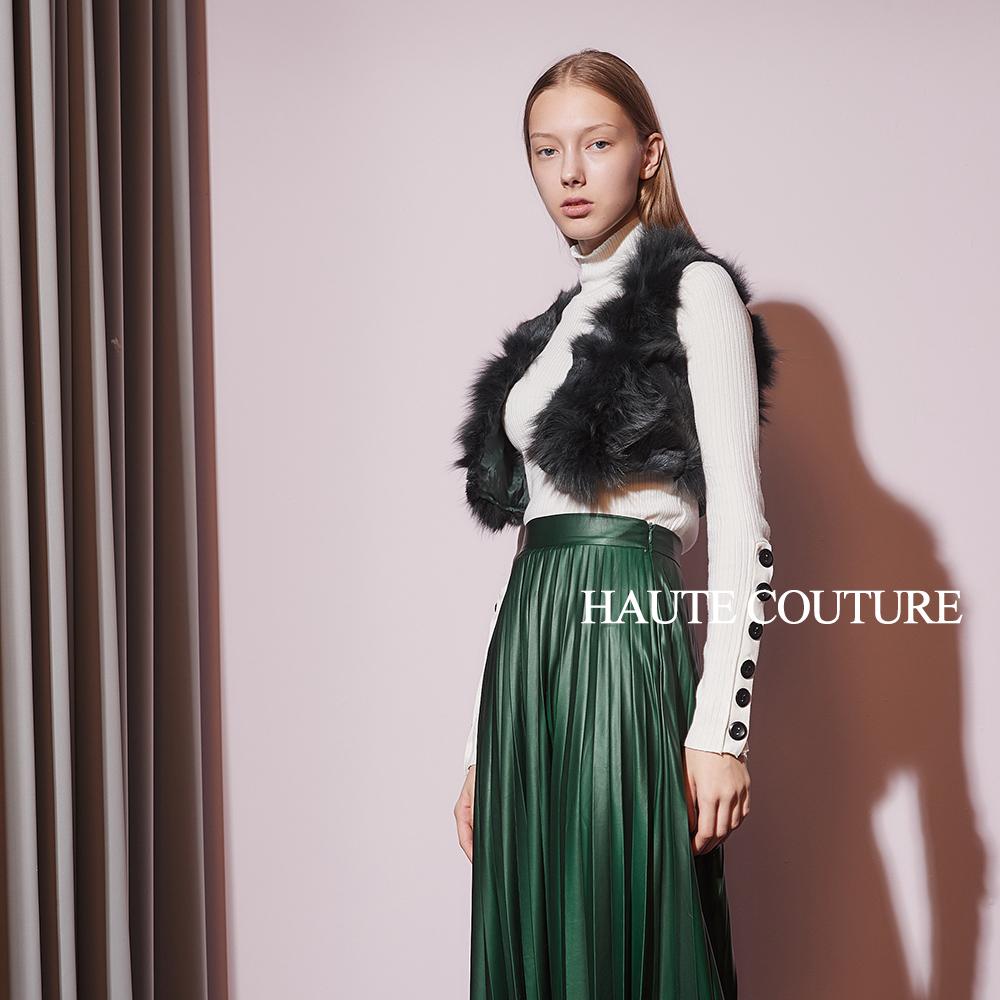 Haute Couture 高定系 精緻狐狸毛針織短版造型斗篷背心罩衫-橄欖綠