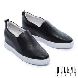 休閒鞋 HELENE SPARK 知性簡約格紋全真皮內增高厚底休閒鞋-黑