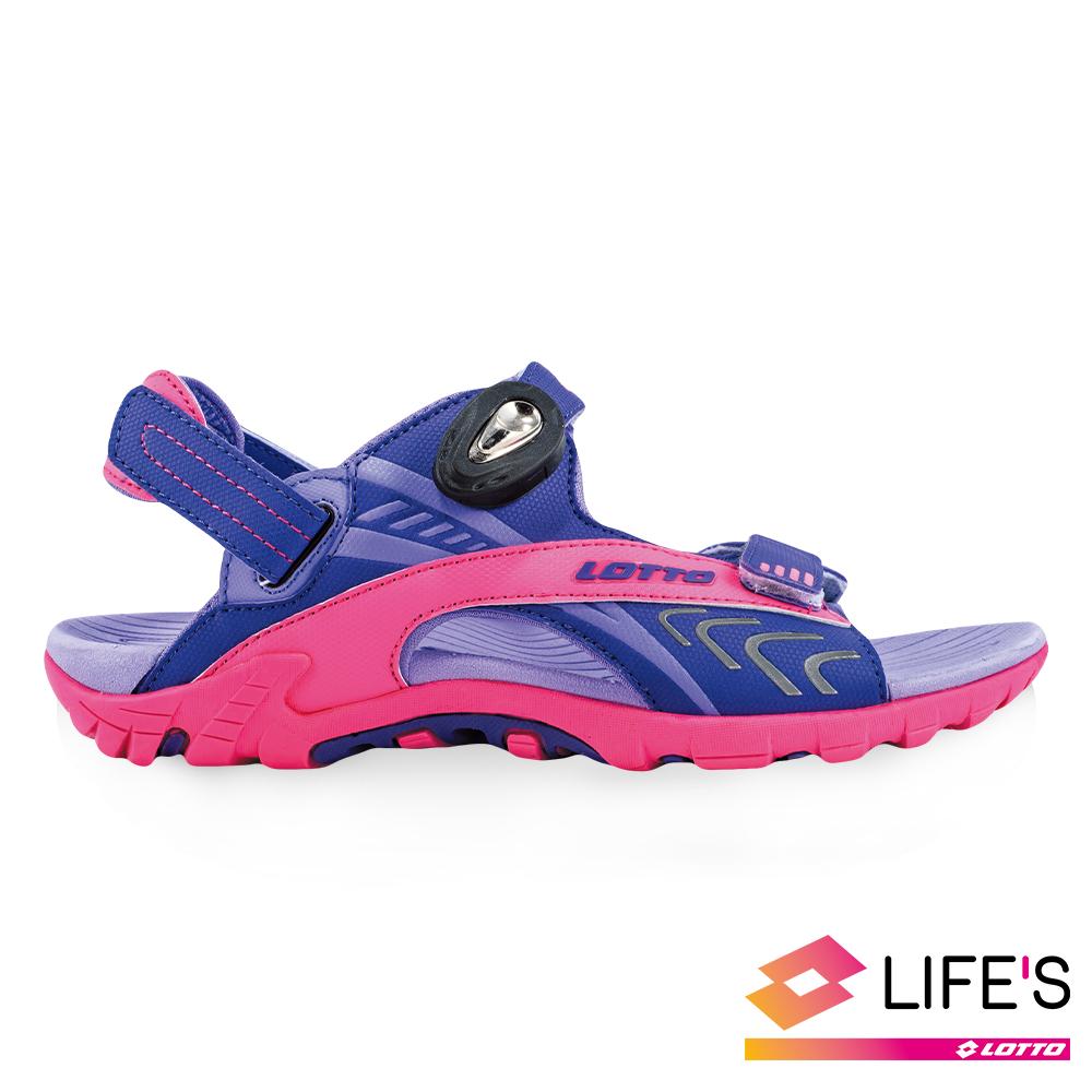 LOTTO 義大利 童 排水磁扣涼鞋 (紫)