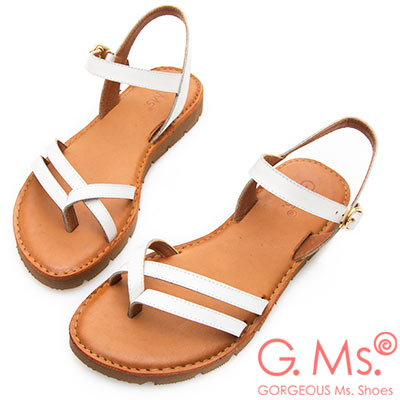 G.Ms. MIT系列-無印風雙線條牛皮平底涼鞋-白色