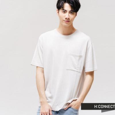 H:CONNECT 韓國品牌 男裝 -圓領口袋針織上衣-白