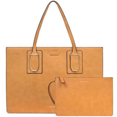 Calvin Klein 焦糖色皮革托特包/大型-附手拿包