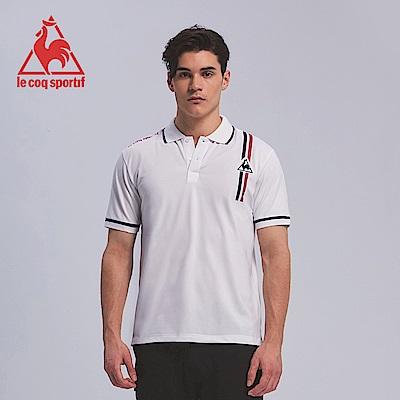 le coq sportif 法國公雞牌雙色線條印花短袖POLO衫 男-白