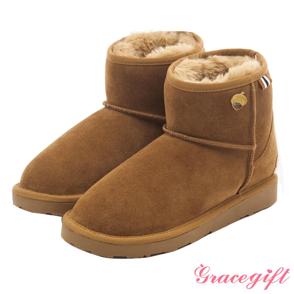 Disney collection by grace gift-立體毛呢織帶雪靴 棕