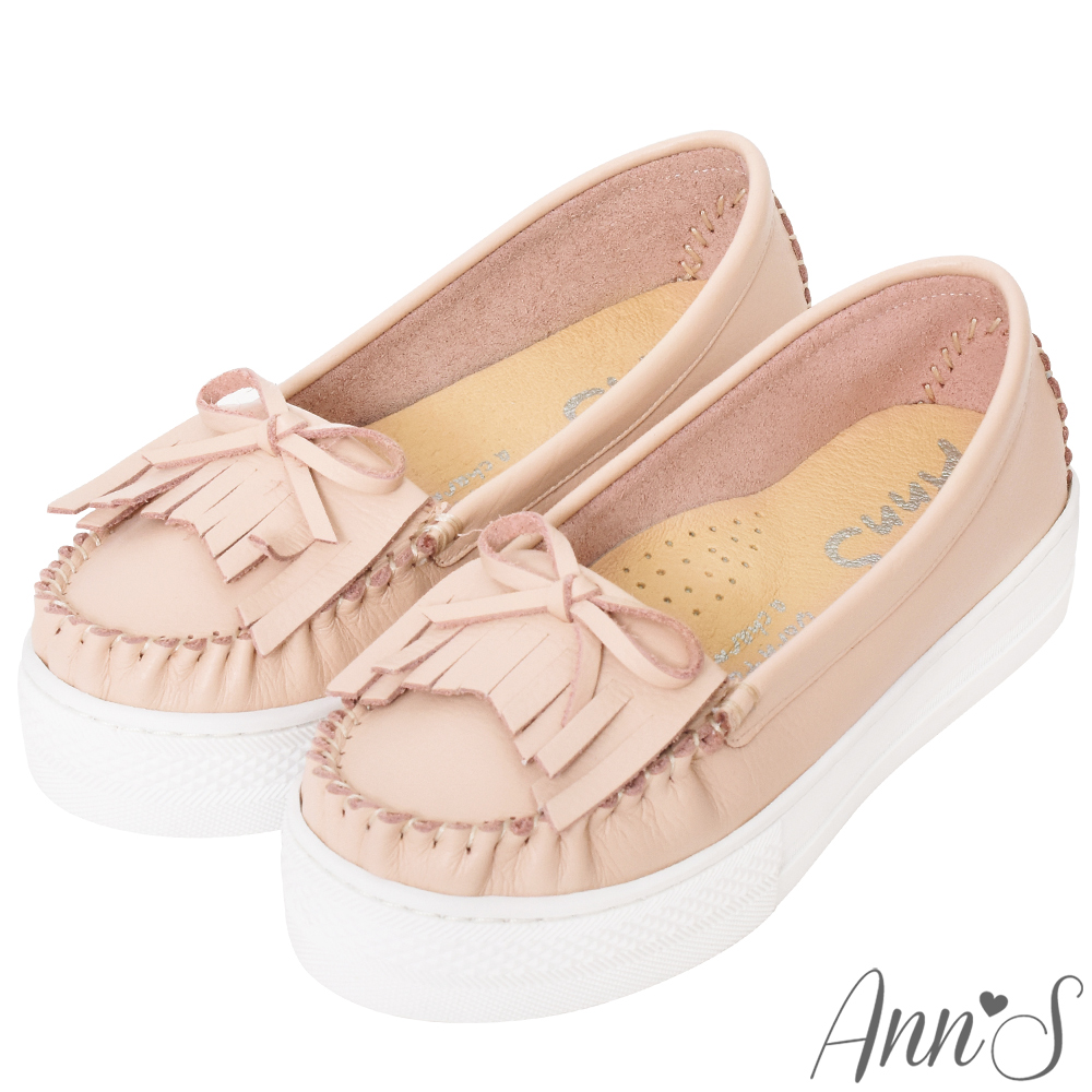 Ann'S全真皮流蘇莫卡辛QQ厚底鞋-粉