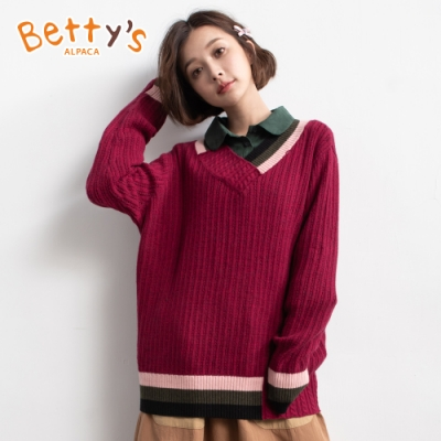 betty's貝蒂思 保暖款V領配色毛衣(深桃紅)