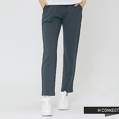 H:CONNECT 韓國品牌 女裝-鬆緊舒適棉質長褲-藍