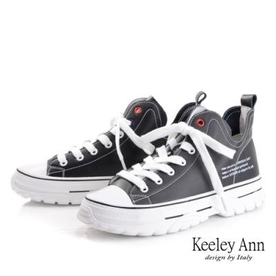 Keeley Ann輕運動潮流 百搭高筒全真皮厚底帆布鞋(黑色-Ann系列)