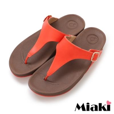 Miaki-涼鞋韓風休閒厚底夾腳拖鞋-橘