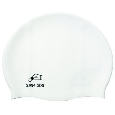 聖手牌 泳帽 防滑透氣白色矽膠泳帽