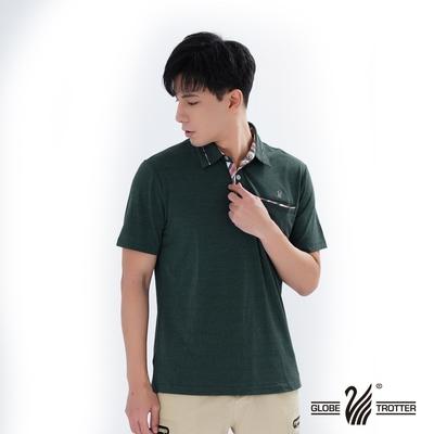 【遊遍天下】男款格紋抗UV機能POLO衫GS1012綠色