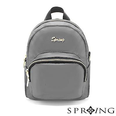 SPRING-微光澤輕量多用迷你後背包-古銅灰
