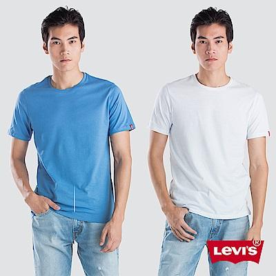Levis 男款 2件組短袖T恤 修身版型 淺藍素面和條紋款