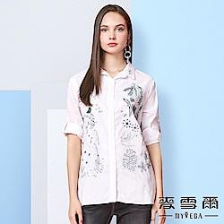 【麥雪爾】純棉熱帶植物彩色刺繡襯衫
