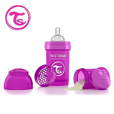 Twistshake 瑞典時尚 彩虹奶瓶/防脹氣奶瓶180ml/奶嘴口徑0.3mm-魔幻紫
