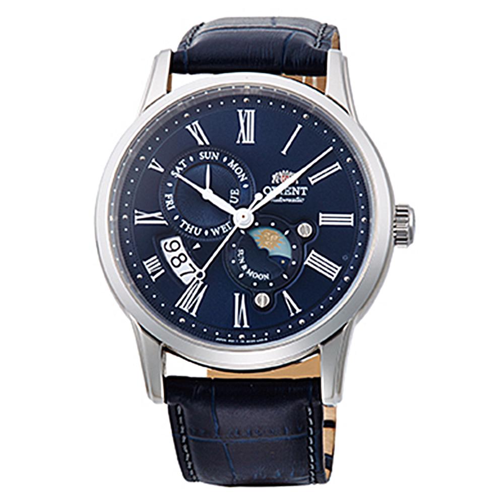 ORIENT 日月相鏤空藍寶石手動機械錶(SAK00005D0)-藍面x41mm