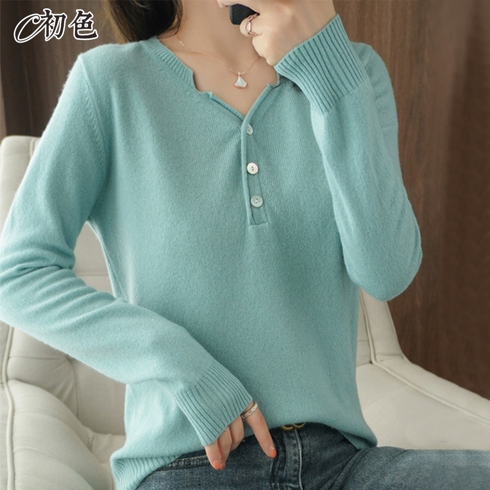 初色  韓版V領針織衫-共12色-(M-2XL可選)