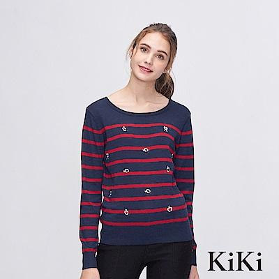 KiKi INLook 刺繡小花條紋針織上衣(藍色)