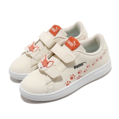 Puma 休閒鞋 Smash V2 運動 童鞋 舒適 穿搭 魔鬼氈 動物圖案 中童 米白 橘 37318501