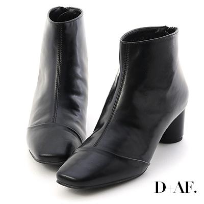 D+AF 摩登焦點.復古小方頭圓跟短靴*黑