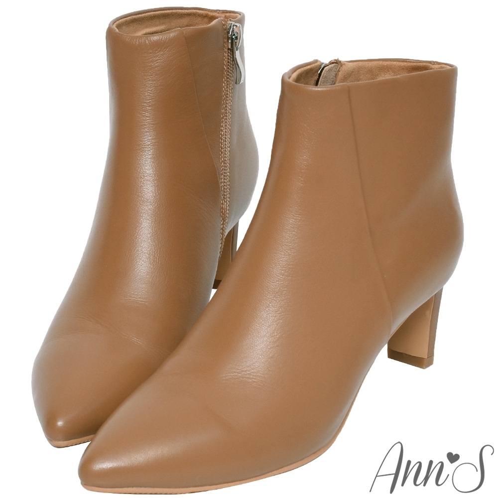Ann'S這是主打款-小羊皮扁跟6公分尖頭短靴-棕
