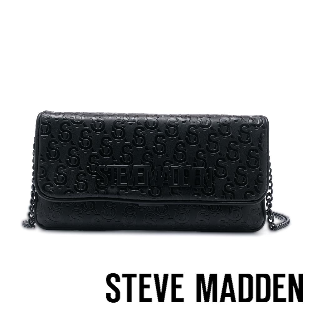 STEVE MADDEN-BSHADE 壓紋方型鍊條長夾包-黑色