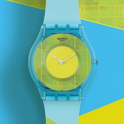 Swatch SKIN超薄系列 ACID MADRAS 03 清新紗麗(34mm)