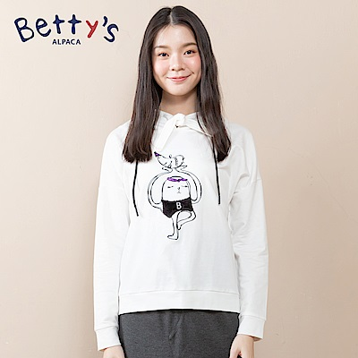 betty's貝蒂思 連帽抽繩動物刺繡T-shirt(白色)